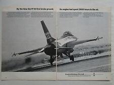 8/1974 PUB PRATT & WHITNEY F100 GENERAL DYNAMICS YF-16 US AIR FORCE ORIGINAL AD