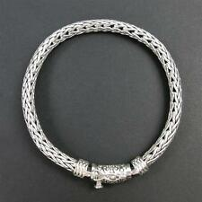 "42Grams Bali 925 Sterling Silver Flexible Braided Thick Chain Mens 7.5"" Bracelet"