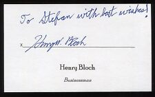 Henry Bloch Signed 3x5 Index Card Signature Autographed Businessman