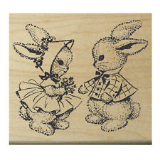 """P14 Bunny friends rubber stamp 3x2.5""""  Victorian style WM"""