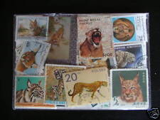 LOT TIMBRES FÉLINS (Tigres, Lions, Chats) : 50 TIMBRES DIFFÉRENT / STAMPS CATS