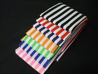 Stripes polycotton fabric Poplin Metre Red Black Orange Lime Blue Navy Black