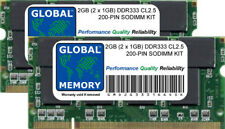 2GB (2 x 1GB) DDR 333Mhz PC2700 200-pin SODIMM KIT MEMORIA RAM per Laptop