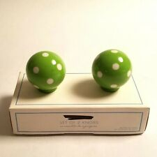 NEW S/2 Pottery Barn Kids Green and White Dots Ceramic Knobs Dresser Pull Handle