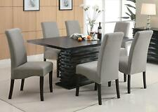 Coaster 102061 062 7Pc Black Dining Table And Gray Upholstered Chairs