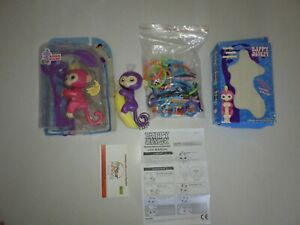 Lot of 2 Fingerlings  WowWee Interactive Baby Monkey + Stand, Playset, Banana