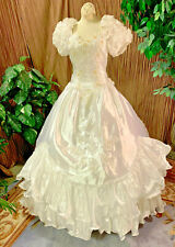SOUTHERN BELLE RUFFLED WEDDING DRESS BRIDAL GOWN RENAISSANCE FAIRE SIZE SMALL