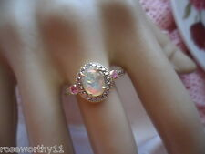 Antique Art Deco Vintage 9ct Gold Opal Ring Rubies and Diamond 9 ct size 9 or S