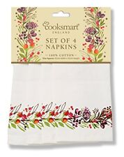 Cooksmart 4 x Winter Chorus Robin Cotton Fabric Napkins Christmas Xmas Dining