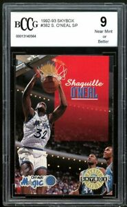 1992-93 Skybox #382 Shaquille O'neal Rookie Card BGS BCCG 9 Near Mint+