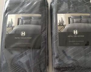 Lot of 2 : Hotel Collection Modern JACQURD BLUE 2 Standard Pillow Shams