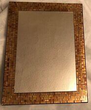 BROWN GOLD MOSAIC MIRROR RECTANGLE WALL HOME DECOR HANDMADE BEDROOM  BATHROOM