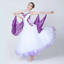 Latin Ballroom Dance Dress Modern Salsa Waltz Standard Long Dress#NN069 2 Colors