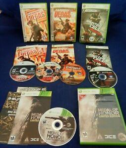 Xbox 360;Rainbow Six Vegas 1 & 2,Splinter Cell Convic.,Medal of Honor,w/Mans, VG