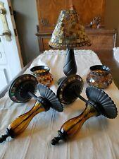 5pc Set Partylite Global Fusion Mosaic Lot hurricane Lamp Sconces Candle Holders