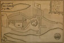 Antique Map Dated 1648 of Kallundborg, Denmark, Outstanding Print, Rare & Fine!