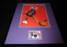 Vince Carter 16x20 Framed Game Used Jersey & Dunk Photo Display Raptors