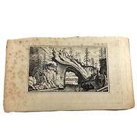 Authentic Antique 1700-1800's Engraving On Paper — Manuscript Artwork Art Old E