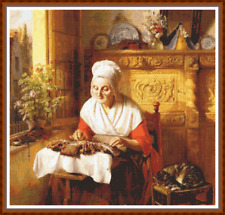 """'THE LACEMAKER' Cross Stitch Pattern (18¾""""x17¾"""") Detailed/Cat/Classical/Crafting"""