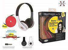 Cuffia stereo per TV doppio cavo 6 MT 1,2 MT + ADATTATORE - XTREME TV HEADPHONE
