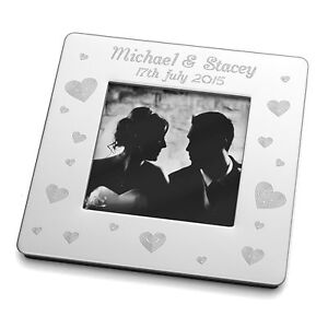 Engraved Small Magnetic Square Photo Frame Wedding Engagement Bride Groom Gift