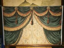 Swagged Curtains Canvas Pelham Puppets Theatre backdrop Marionettes Vintage toys