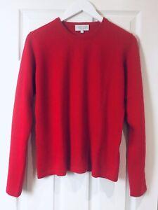 100% Cashmere Jumper Red Vast Land Soft Warm Cosy Present Size L