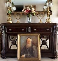 Early 20th C. Jewish Oil Painting Portrait of an Old Rabbi O/B Signed Framed Art
