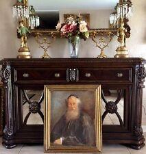 Antique Vintage Jewish Oil Painting Portrait of an Old Rabbi O/B Signed Framed