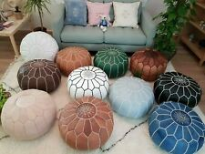 Moroccan Pouf Leather Pouf Ottoman Genuine Leather Ottoman Footstool Pouffe