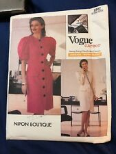 Sewing Pattern VOGUE American Designer 2302 Nipon Boutique Womens Dress 16 Uncut