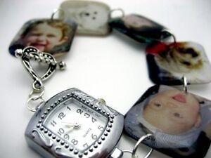 Custom keepsake memory charm bracelet watch with your photos NEW mommy jewelry