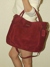 NEW Prada  Suede Br4342 Burgundy Satchel Handbag Crossbody Bag