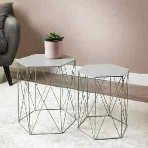Malvern Set of 2 Grey Hexagon Tables Ideal For Your Home Coffee / Side Table