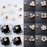 Lapel Flower Camellia Pearl Crystal Handmade Boutonniere Brooch Pin Wedding Gift