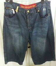 Crown Holder jean shorts MENS 42 HIP HOP BAGGY Bling Gold Tone HARDWARE DK BLUE