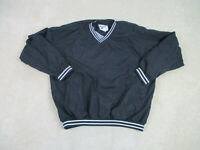 VINTAGE Reebok Jacket Adult 2XL XXL Black White Spell Out Pullover Mens 90s A0 *