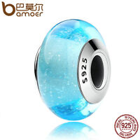 Bamoer New Authentic S925 Sterling Silver Blue Murano Bead Fit Bracelets Jewelry