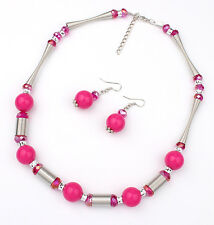 silver plated spring chain pink beads necklace/earrings set US SELLER