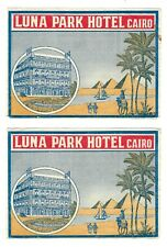 1900s LUNA PARK HOTEL Cairo EGYPT Luggage Label LOT 2 Art Deco Pyramids Vintage