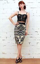 CUE Formal ELEGANT Black Yellow GEOMETRIC High Waist Pencil Skirt Size AUS 10 S