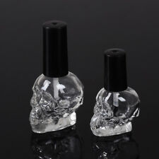 10/15ml Empty nail polish bottle clear glass with brush refillable steamed he DD