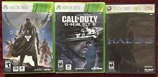 Lot of 3 XBOX 360 Games: Destiny ~ Call of Duty Ghosts ~ Halo 3 Untested AS IS