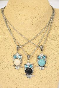 """Owl Necklace with Semi-Precious Circular Stone - Size: 1.5"""" long x 1"""" wide"""