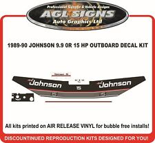 1989 1990 JOHNSON 15 HP OR 9.9 HP DECAL KIT , reproductions