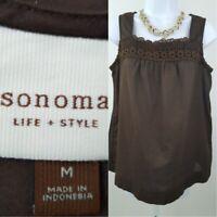 Sonoma Life + Style Size M Chocolate Sleeveless Crochet Lace Pattern Blouse