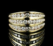 GABRIEL & CO. NATURAL 2.0ctw DIAMOND SOLID 14K GOLD WIDE BAND CATHEDRAL RING