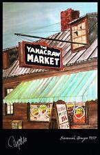 POSTER 1939 Yamacraw Market Artist Signed Fahm Street SAVANNAH GEORGIA