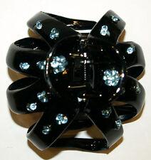 2 Pieces Rhinestone Claw Clip Bun Clip Asst Rhinestone Colors on Black Clip