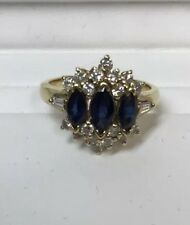 Ring With Natural Sapphire And Diamonds 14k Yellow Gold Anniversary& Right Hand